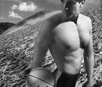 male model with basket ball